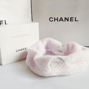 CHANEL PINK VELOUR TERRY CLOTH MAKEUP HAIR BAND
